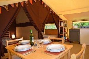 Wine on table inside lodge